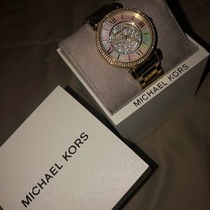 Gold Michael Kors Opal Diamond Watch